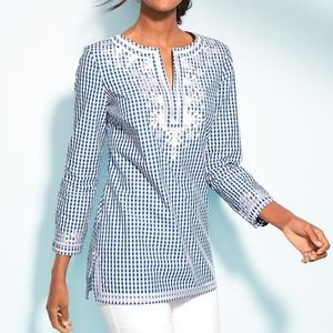 Talbots embroidered gingham tunic blue white